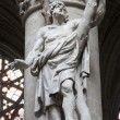 BRUSSELS - JUNE 22: Statue of Saint Simon the apostle by Lucas Faid Hebre from year 1646 in baroque style from gothic cathedral of Saint Michael and Saint Gudula on June 22, 2012 in Brussels - Stock Photo