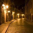 Prague - nightly street from Little quarter - Stock Photo