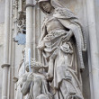KOSICE - JANUARY 3: Saint queen Elizabeth from Hungary statue at almose from south portal of Saint Elizabeth gothic cathedral on January 3, 2013 in Kosice, Slovakia. - Stock Photo