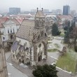 Kosice - Outlook from Saint Elizabeth cathedral to Saint Michaels chapel and the town in winter. - Stock Photo