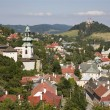 Old castle and calvary in Banska Stiavnica - Slovakia - unesco monument - Stock Photo