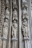 BRUSSELS - JUNE 21: Detail from main portal of Notre Dame du Sablon gothic church on June 21, 2012 in Brussels. — Stock Photo