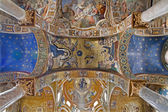 PALERMO - APRIL 8: Mosaic of Nativity on ceiling from Church of Santa Maria dell' Ammiraglio or La Martorana from 12. cent. on April 8, 2013 in Palermo, Italy. — Stock Photo
