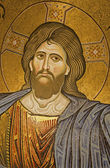 Palermo - Mosaic of Jesus Christ from main apse of Monreale cathedral. Church is wonderful example of Norman architecture. Cathedral was completed about 1200 on April 9, 2013 in Palermo, Italy. — Stock Photo