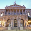 Stock Photo: Madrid - Portal of Museo Arqueolgico Nacional - National Archaeological Museum of Spain in morning dusk. Neoclassical building was projected by architect Francisco Jareno and built from 1866 to 1892