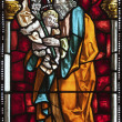 MADRID - MARCH 10: Saint Joseph from windowpane of church San Jeronimo el Real on March 10, 2013 in Spain. — Stock Photo