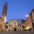 Verona - Piazza dei Signori and Lamberti tower in dusk — Stock Photo #27056493