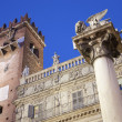 Verona  - Porta Leona and Palazzo Maffei and st. Mark column from Piazza Erbe in dusk — Stock Photo