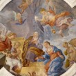 PALERMO - APRIL 8: Annunciation scene on ceiling of side nave in church La chiesa del Gesu or Casa Professa. Baroque church was completed in 1636 on April 8, 2013 in Palermo, Italy. — Stock Photo