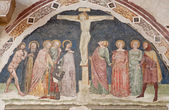 VERONA - JANUARY 28: Crucifixion fresco by school of Turone di Maxio from year 1363 in church San Fermo Maggiore on January 28, 2013 in Verona, Italy. — Stock Photo