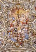 PALERMO - APRIL 8: Fresco Il trionfo di Santa Caterina (1744) by Filippo Randazzo from ceiling of baroque church Chiesa di Santa Caterina build in years 1566 - 1596 April 8, 2013 in Palermo, Italy. — Stock Photo