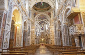 PALERMO - APRIL 8: Interior of church La chiesa del Gesu or Casa Professa. Baroque church designed by architect jesuit Giovanni Tristano was completed in year 1636 on April 8, 2013 in Palermo, Italy. — Stock Photo