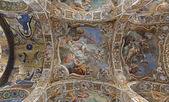 PALERMO - APRIL 8: Fresco and mosaics on ceiling from Church of Santa Maria dell' Ammiraglio or La Martorana from 12. cent. on April 8, 2013 in Palermo, Italy. — Stock Photo
