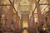 VERONA - JANUARY 27: Nave of gothic-romanesque church Santa Anastasia build in year 1492 on January 27, 2013 in Verona, Italy — Stock Photo
