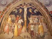 VERONA - JANUARY 28: Crucifixion fresco by Turone di Maxio from year 1350 in church San Fermo Maggiore on January 28, 2013 in Verona, Italy. — Stock Photo