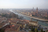 Verona - Outlook from Castel san Pietro in winter morning — Stock Photo
