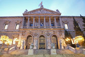 Madrid - Portal of Museo Arqueolgico Nacional - National Archaeological Museum of Spain in morning dusk. Neoclassical building was projected by architect Francisco Jareno and built from 1866 to 1892 — Stock Photo