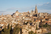 Toledo - Cathedral and Jesuits and other churches and old town in morning light — Stock Photo