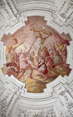 PALERMO - APRIL 8: Crucifixion scene on ceiling of side nave in church La chiesa del Gesu or Casa Professa. Baroque church was completed in 1636 on April 8, 2013 in Palermo, Italy. — Stock Photo