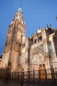 Toledo - Cathedral Primada Santa Maria de Toledo in dusk — Fotografia Stock