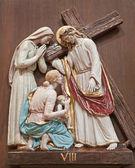 VERONA - JANUARY 28: Crucifixion. One part of ceramic coss way from st. Nicholas church (Chiesa di San Nicolo) on January 27, 2013 in Verona, Italy. — Stock Photo