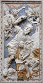 PALERMO - APRIL 8: Baroque relief of Abrahams proof in church Chiesa di Santa Caterina build in years 1566 - 1596 April 8, 2013 in Palermo, Italy. — Stock Photo
