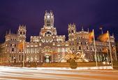 Madrid - Communications Palace from Plaza de Cibeles in dusk — Stock Photo