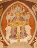 VERONA - JANUARY 28: Fresco of holy Trinity from main apse of Chiesa di Santissima Trinita consecrated in 1117 on January 28, 2013 in Verona, Italy. — Stock Photo