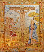 MADRID - MARCH 10: Tapestry of Crucifixion by Francisco de Ocampo from 17. cent. in Iglesia catedral de las fuerzas armada de Espana on March 10, 2013 in Madrid. — Stock Photo