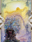 PALERMO - APRIL 8: Modern fresco of Last judgment by Frederico Spoltoze from year 1954 on ceiling of church La chiesa del Gesu or Casa Professa.on April 8, 2013 in Palermo, Italy. — Stock Photo