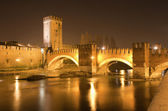 Verona - Scaligero bridge at night - Ponte Scaligero — Stock Photo
