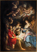 ANTWERP, BELGIUM - SEPTEMBER 5: Paint of Nativity scene by by baroque great painter Peter Paul Rubens in St. Pauls church (Paulskerk) on September 5, 2013 in Antwerp, Belgium — Stockfoto