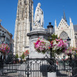 Mechelen - St. Rumbold's cathedral and statue of Margaret of Austria on September 4, 2013 in Mechelen, Belgium.  — Stock Photo