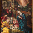 ANTWERP, BELGIUM - SEPTEMBER 5: Paint of Nativity scene by Maarten de Vos from year 1577  in the cathedral of Our Lady on September 4, 2013 in Antwerp, Belgium — Stock Photo