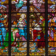 MECHELEN - SEPTEMBER 6: Three Magi scene from windowpane of St. Rumbold's cathedral on Sepetember 6, 2013 in Mechelen, Belgium. — Stock Photo