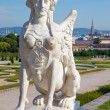 Vienna - sphinx for Belvedere palace in morning and the town — Stock Photo