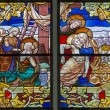 MECHELEN, BELGIUM - SEPTEMBER 6:  Deposition of the cross scene from windowpane of St. Rumbold's cathedral on Sepetember 6, 2013 in Mechelen, Belgium. — Stock Photo