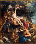 ANTWERP, BELGIUM - SEPTEMBER 4: Deposition of the cross scene from years 1609 - 1610 by baroque painter Peter Paul Rubens in the cathedral of Our Lady on September 4, 2013 in Antwerp, Belgium — Stock Photo