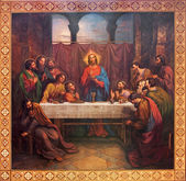 VIENNA - JULY 27: Fresco of Last supper of Christ by Leopold Kupelwieser from 1889 in nave of Altlerchenfelder church on July 27, 2013 Vienna. — Stock Photo