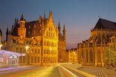 Louvain - hôtel de ville gothique et la cathédrale de st. peters de margarethaplein dans le crépuscule du matin — Photo