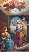 VIENNA - JULY 27: Fresco of Annunciation scene by Karl von Blaas from 19. cent. in nave of Altlerchenfelder church on July 27, 2013 Vienna. — Stock Photo