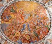 VIENNA - JULY 27: Baroque fresco of Coronation of Holy Mary from cupola of monastery church in Klosterneuburg by Johan Georg Greiner from years 1680 - 1702 on July 27, 2013 Vienna. — Stock Photo