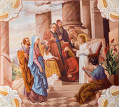 SEBECHLEBY - AUGUS 8: Little Jesus teaching in the temple. Fresco from year 1963 by Jozef Antal in st. Michael parish church on August 8, 2013 in Sebechleby, Slovakia. — Stock Photo
