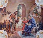 SEBECHLEBY - AUGUS 8: Holy Family. Fresco from year 1963 by Jozef Antal in st. Michael parish church on August 8, 2013 in Sebechleby, Slovakia. — Stockfoto