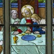 MECHELEN, BELGIUM - SEPTEMBER 6: Last supper scene from windowpane in St. Rumbold's cathedral on September 6, 2013 in Mechelen, Belgium. — Stock Photo