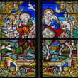 MECHELEN, BELGIUM - SEPTEMBER 6: Flight to Egypt. Windowpane of St. Rumbold's cathedral on September 6, 2013 in Mechelen, Belgium. — Stock Photo #36785909