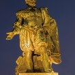 ������, ������: Antwerp Statue of painter P P Rubens by Willem Geefs 1805 1883 in dusk