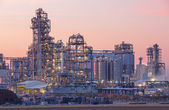 Oil refinery Schwechat in Austria in evening dusk — Stock Photo