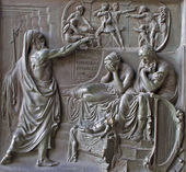 PARIS, APRIL 11: Relief from Madeleine church - prophet and king Ahab - old testament scene from year 1837 by M. Triqueti on April 11, 2004, Paris. — Stock Photo