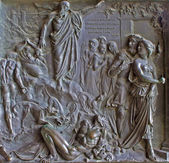 PARIS, APRIL 11: Relief from Madeleine church - prophet Natan and king David - old testament scene from year 1837 by M. Triqueti on April 11, 2004, Paris. — Stock Photo